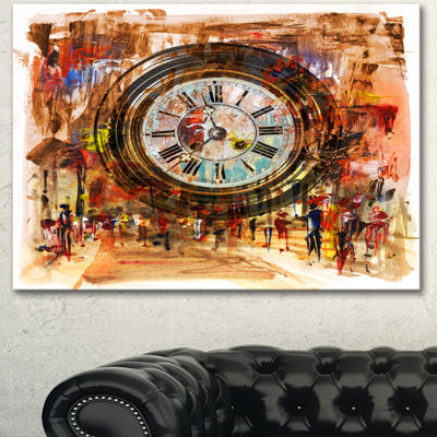 Designart People And Time Acrylic Painting LargeAbstract Canvas Artwork