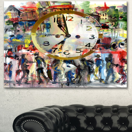 Designart People And Time Acrylic Watercolor LargeAbstract Canvas Artwork