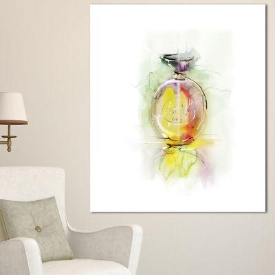 Designart Perfume Bottle Watercolor Large AnimalCanvas Art Print - 3 Panels