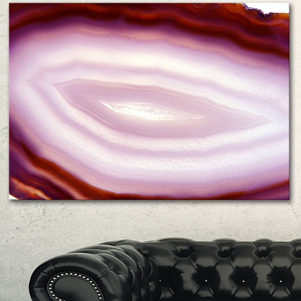 Design Art Pink Agate Geode Geological Crystals Large Abstract Canvas Artwork - 3 Panels