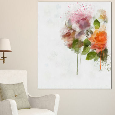 Designart Pink And Orange Roses On White Modern Forest Canvas Art