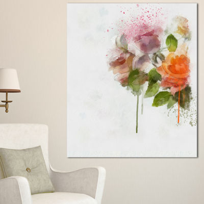 Designart Pink And Orange Roses On White Modern Forest Canvas Art - 3 Panels
