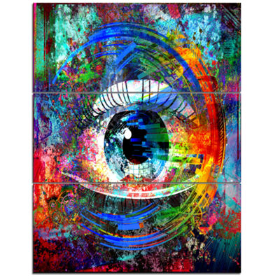 Designart Magic Eye Over Abstract Design Large Abstract Canvas Art - 3 Panels