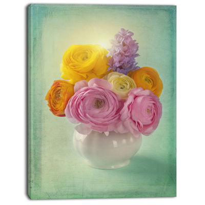 Designart Pink And Yellow Ranunculus Flowers Floral Canvas Art Print