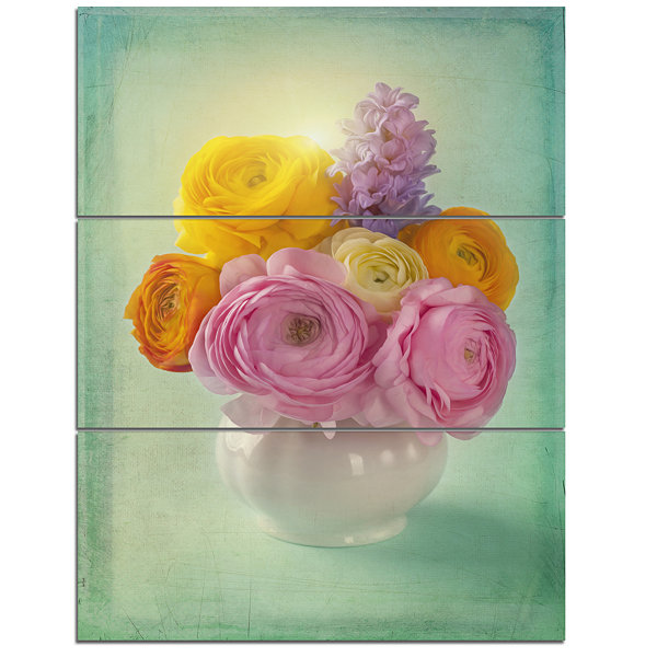 Design Art Pink And Yellow Ranunculus Flowers Floral Canvas Art Print - 3 Panels