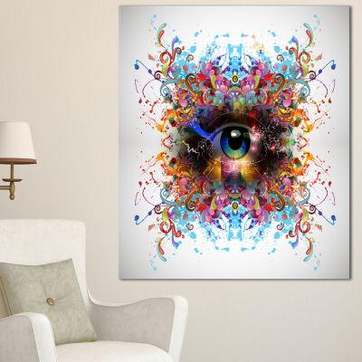 Design Art Magic Eye With Flowers Animal Canvas ArtPrint - 3 Panels