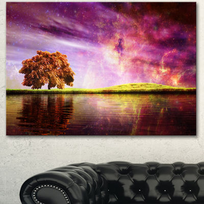 Designart Magic Night With Colorful Clouds Landscape Canvas Art Print