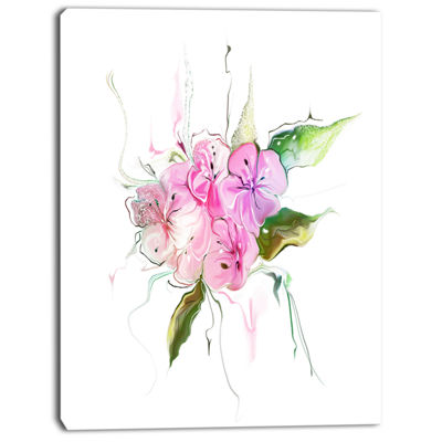 Designart Pink Bouquet Of Pansies Large Animal Canvas Art Print
