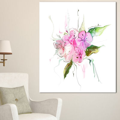 Designart Pink Bouquet Of Pansies Large Animal Canvas Art Print - 3 Panels