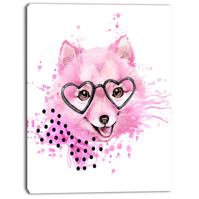 Designart Pink Dog With Heart Glasses ContemporaryAnimal Art Canvas