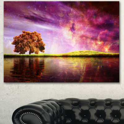 Design Art Magic Night With Colorful Clouds Landscape Canvas Art Print