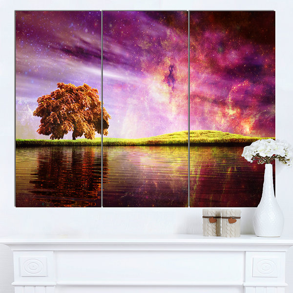 Designart Magic Night With Colorful Clouds Landscape Canvas Art Print - 3 Panels
