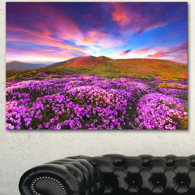 Designart Magic Pink Rhododendron Flowers Large Landscape Canvas Art Print
