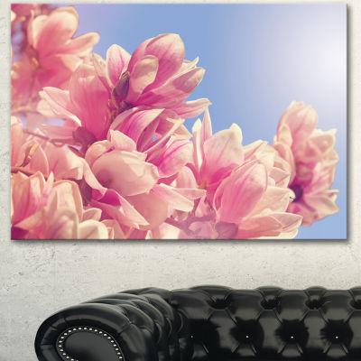 Designart Magnolia Flowers On Sky Background Floral Canvas Art Print