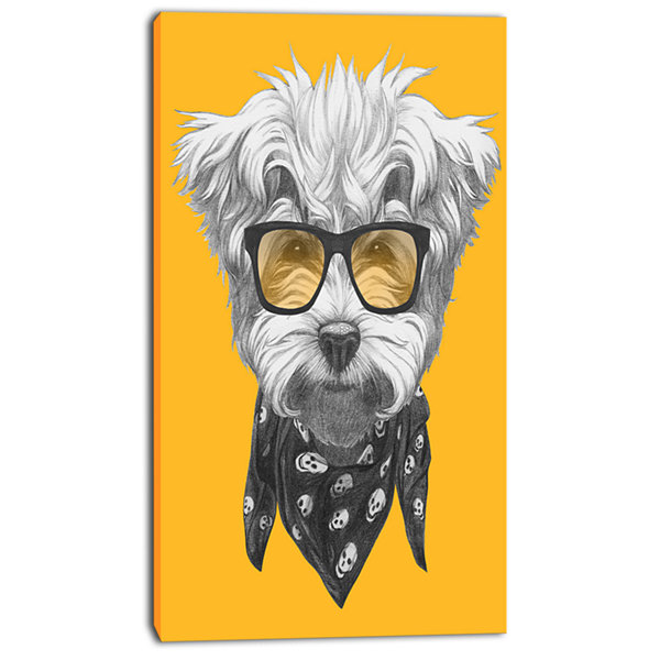 Designart Maltese Poodle With Sunglasses Animal Canvas Art Print