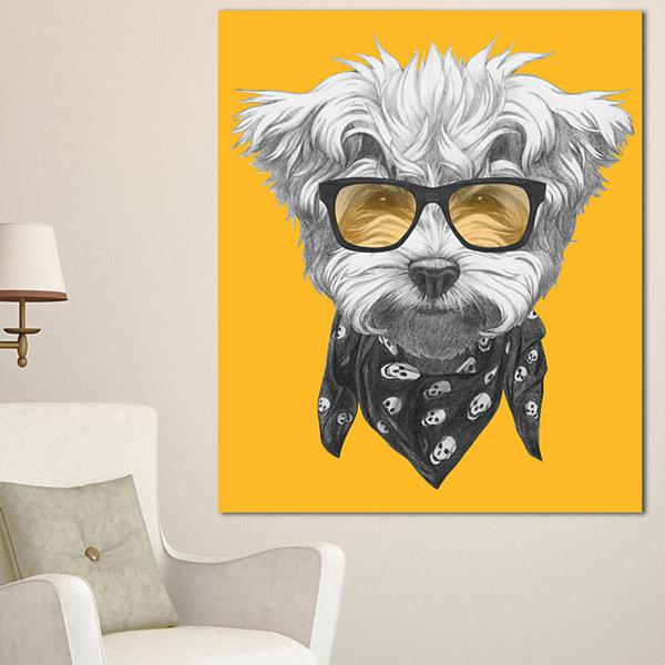Designart Maltese Poodle With Sunglasses Animal Canvas Art Print 3 ...