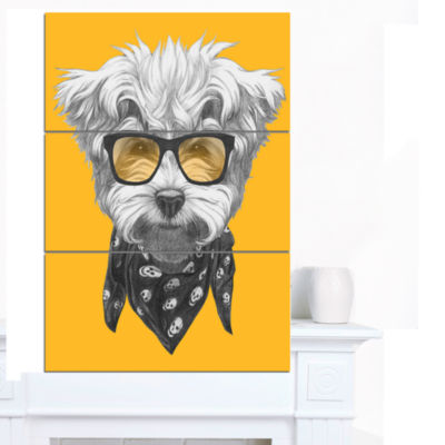 Designart Maltese Poodle With Sunglasses Animal Canvas Art Print - 3 Panels