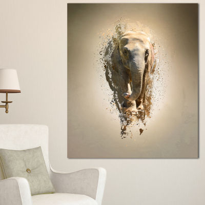 Designart Mammoth Elephant Walking Animal CanvasWall Art - 3 Panels