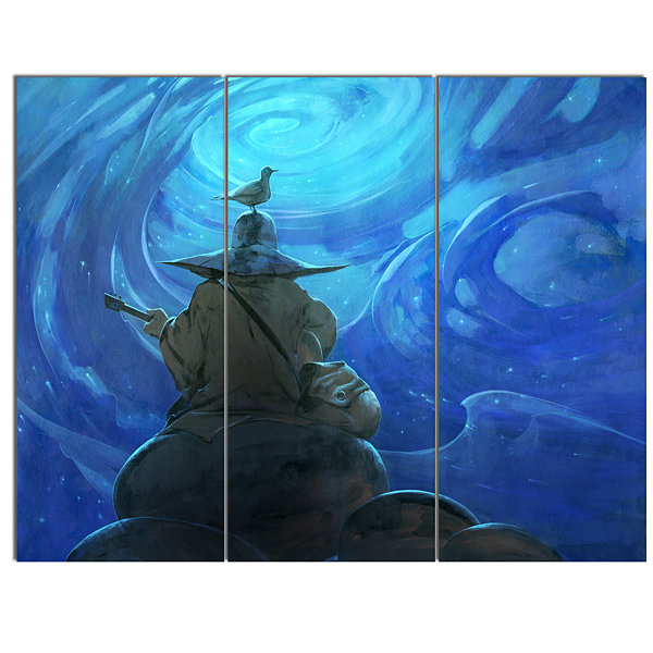 Design Art Man Playing Guitar Large Abstract CanvasArtwork - 3 Panels