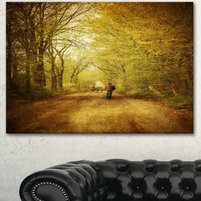 Designart Man Walking Lonely On Rural Road Landscape Canvas Art Print - 3 Panels