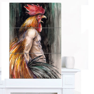 Designart Man With Wings And Rooster Head AbstractCanvas Art Print - 3 Panels