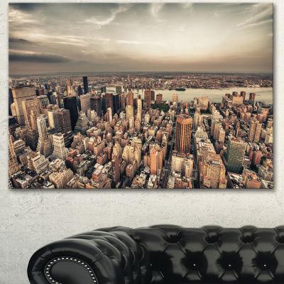 Designart Manhattan Skyscrapers Aerial View ModernCityscape Canvas Art Print - 3 Panels