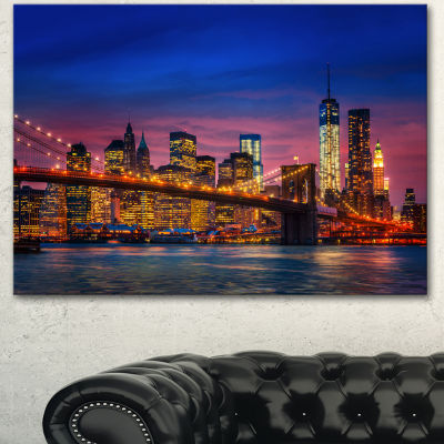 Designart Manhattan With Lights And Reflections Extra Large Canvas Art Print - 3 Panels
