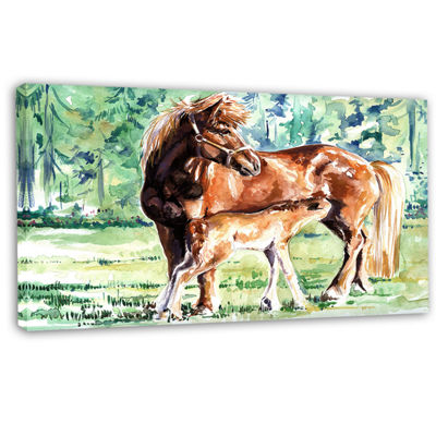Designart Mare And Foal Watercolor Abstract CanvasArt Print
