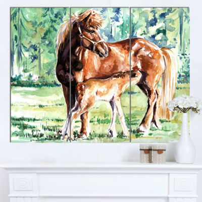 Designart Mare And Foal Watercolor Abstract CanvasArt Print - 3 Panels