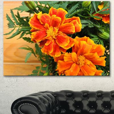 Designart Marigold Flower On Wooden Background Floral Canvas Art Print