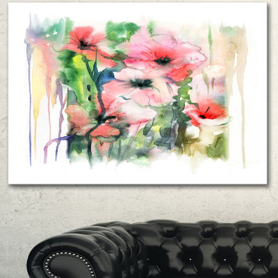 Designart Pink Floral Watercolor Illustration Large Animal Canvas Art Print - 3 Panels