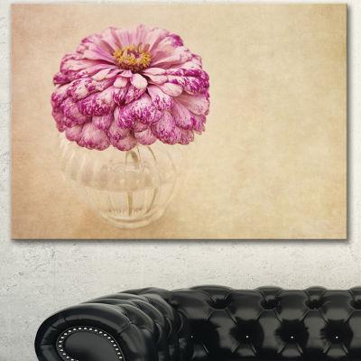 Designart Pink Flower In Vase Watercolor Floral Canvas Art Print - 3 Panels