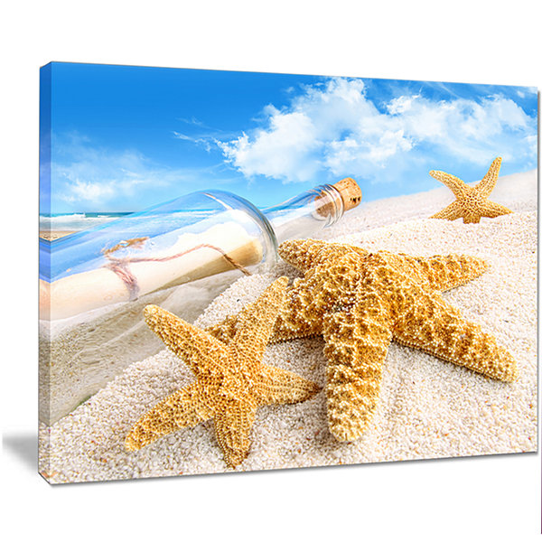 Design Art Message In Bottle Buried In Sand Seashore Photo Canvas Art Print