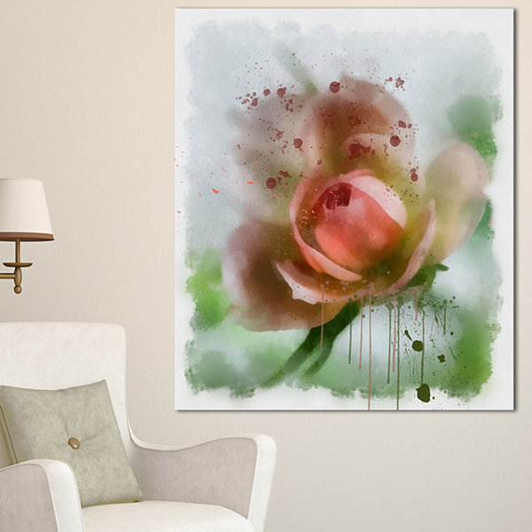Design Art Pink Flower On Green Background FloralCanvas Art Print