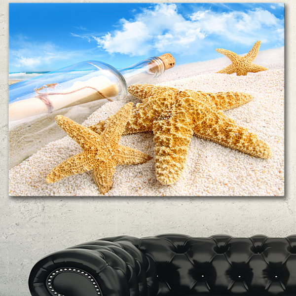 Designart Message In Bottle Buried In Sand Seashore Photo Canvas Art Print - 3 Panels