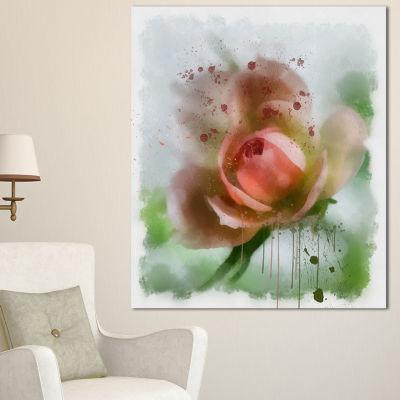 Designart Pink Flower On Green Background Floral Canvas Art Print - 3 Panels