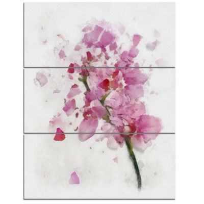 Designart Pink Flower With Falling Petals Large Floral Canvas Artwork - 3 Panels