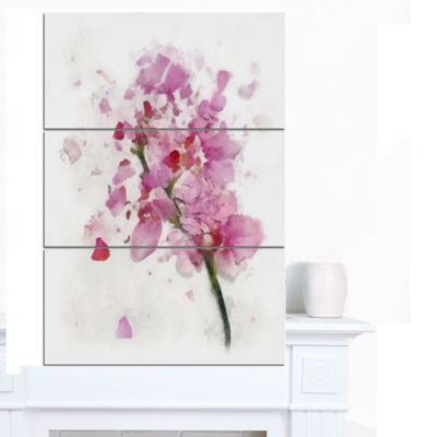 Design Art Pink Flower With Falling Petals Large Floral Canvas Artwork - 3 Panels