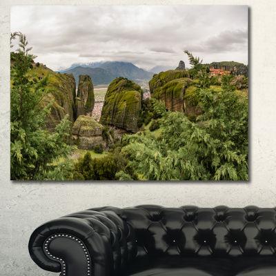 Designart Meteora Mountain In Greece Landscape Canvas Art Print - 3 Panels