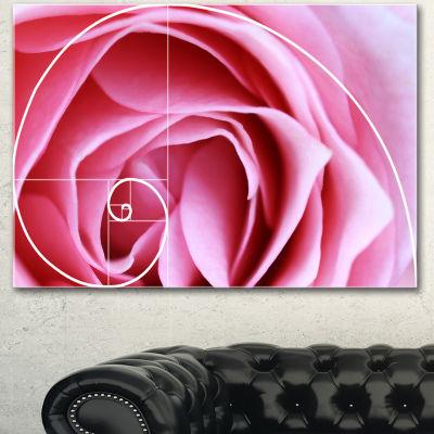 Designart Pink Flower With Spiral Arrangement Floral Canvas Art Print - 3 Panels