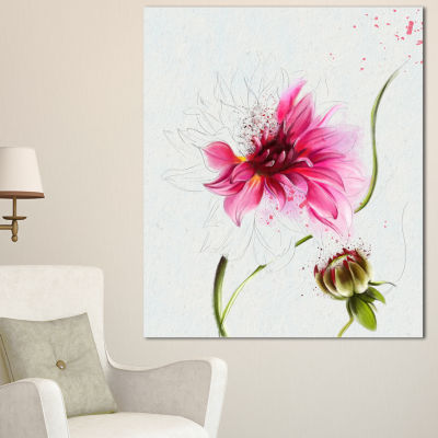 Design Art Pink Flower With Stem And Bud Floral Canvas Art Print - 3 Panels