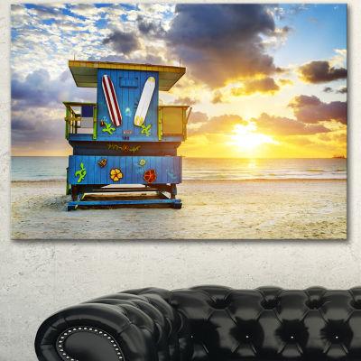 Designart Miami South Beach Sunrise Large SeashoreCanvas Wall Art - 3 Panels