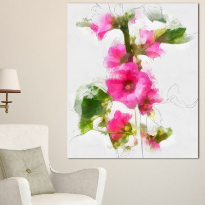 Designart Pink Flower With Stem And Leaves Large Floral Canvas Artwork