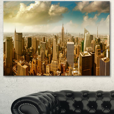 Design Art Midtown And Downtown Manhattan Modern Cityscape Canvas Art Print - 3 Panels