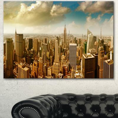 Designart Midtown And Downtown Manhattan Modern Cityscape Canvas Art Print - 3 Panels