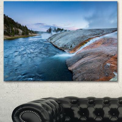 Designart Midway Geyser Basin In Yellowstone Seashore Canvas Art Print - 3 Panels