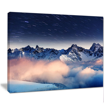 Designart Milky Way Over Frosted Mountains Landscape Canvas Art Print