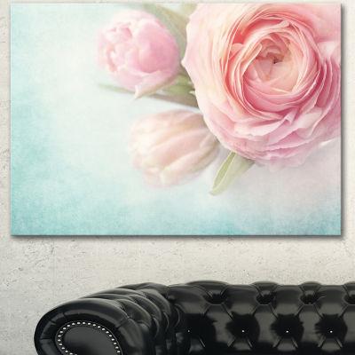 Designart Pink Flowers Against Blue Background Floral Canvas Art Print