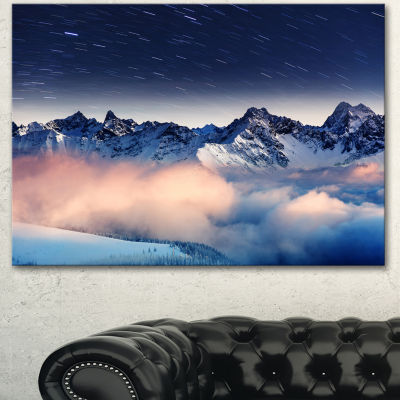 Designart Milky Way Over Frosted Mountains Landscape Canvas Art Print - 3 Panels