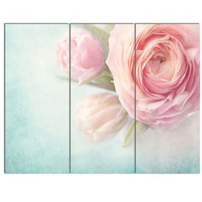 Designart Pink Flowers Against Blue Background Floral Canvas Art Print - 3 Panels